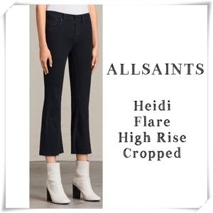 AllSaints Heidi Flare High Rise Cropped Jeans New
